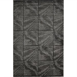 Rugs Tile Rectangular Area Rug in Black and Grey