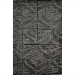 "Linon Rugs Milan Tile Rectangular Area Rug in Black and Grey - 0.5"" H x 23"" W x 34"" D"