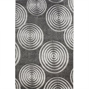 Rugs Circle Rectangular Area Rug in Black and Grey