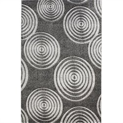 "Linon Rugs Milan Circle Rectangular Area Rug in Black and Grey - 0.5"" H x 23"" W x 34"" D"