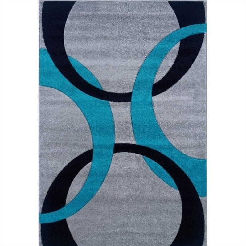 Linon Rugs Corfu Kids Area Rug in Grey and Turquoise