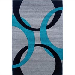 "Linon Rugs Corfu Kids Area Rug in Grey and Turquoise - 0.5"" H x 23"" W x 34"" D"