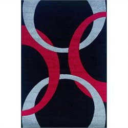 "Linon Rugs Corfu Kids Area Rug in Black and Red - 0.5"" H x 23"" W x 34"" D"