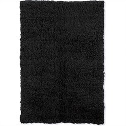 Linon Rugs Flokati Rectangular Area Rug in Black - 1.5
