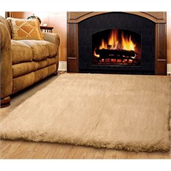 Linon Rugs Flokati Rectangular Area Rug in Tan - 2
