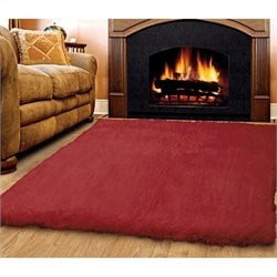 Linon Rugs Flokati Rectangular Area Rug in Red - 2