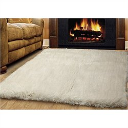 Linon Rugs Flokati Rectangular Area Rug in Natural - 2