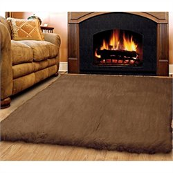 Linon Rugs Flokati Rectangular Area Rug in Cocoa - 2