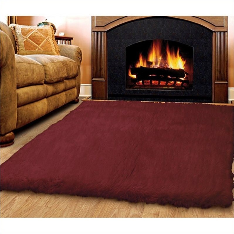 Linon Rugs Flokati Rectangular Area Rug in Burgundy