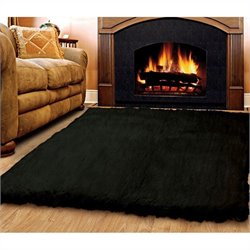 Linon Rugs Flokati Rectangular Area Rug in Black - 2