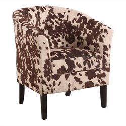 Linon Simon Barrel Chair in Udder Madness Animal Print