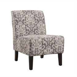 Linon Coco Accent Fabric Slipper Chair in Gray Floral Pattern