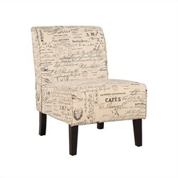 Linon Coco Accent Chair in Script Linen