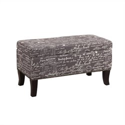 Linon Stephanie Ottoman in Grey Linen with Script