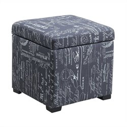 Linon Judith Ottoman with Jewelry Storage in Script