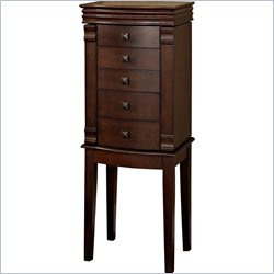 Linon Angela Jewelry Armoire in Walnut