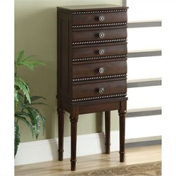 Linon Sylvie Jewelry Armoire in Walnut
