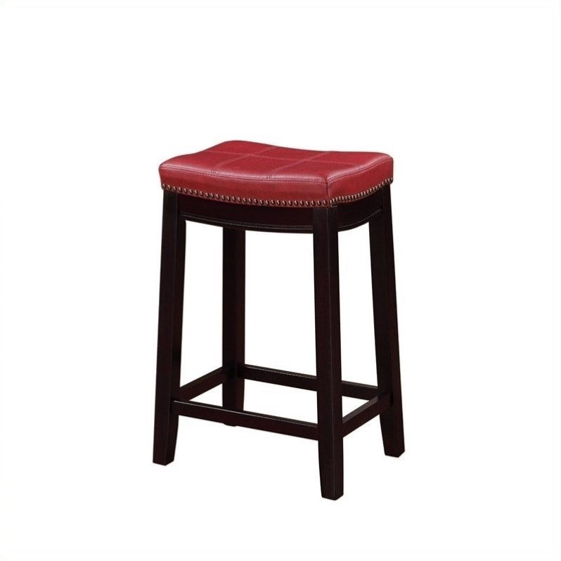 Tremendous Linon Claridge 26 Faux Leather Counter Stool In Red And Dark Espresso Alphanode Cool Chair Designs And Ideas Alphanodeonline