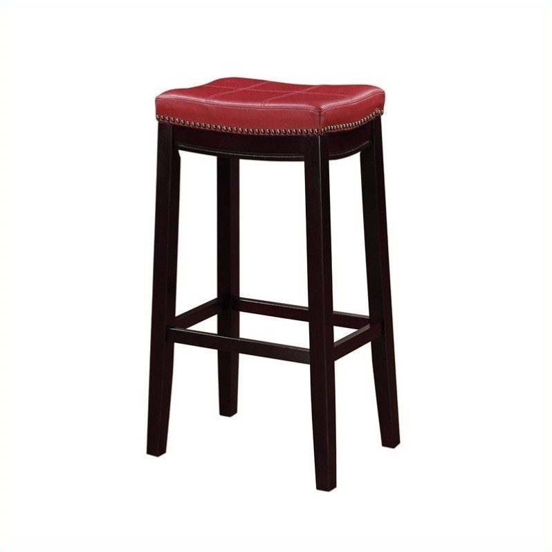 Tremendous Linon Claridge 32 Faux Leather Bar Stool In Red And Dark Espresso Alphanode Cool Chair Designs And Ideas Alphanodeonline
