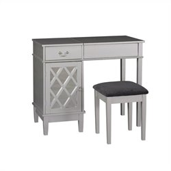 Linon Lattice Vanity Set in Silver Finish