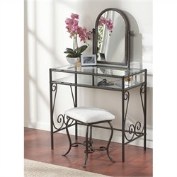 Linon Clarisse Metal Vanity Set in Linen