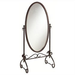 Linon Clarisse Metal Mirror in Antique Brown Finish