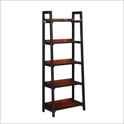 Linon Camden Five Shelf Bookcase in Black Cherry