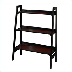 Linon Camden Three Shelf Bookcase in Black Cherry