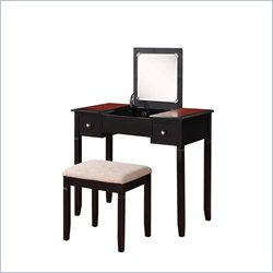 Linon Camden Vanity Set in Black Cherry