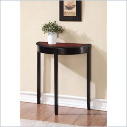 Linon Camden Demi Lune Console Table in Black Cherry