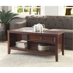 Linon Wander Coffee Table in Cherry Finish