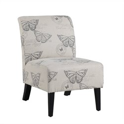 Linon Lily Slipper Chair in Ivory Animal Print
