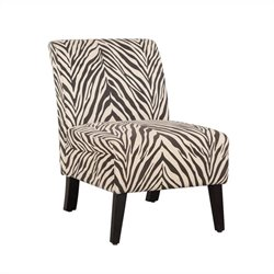 Linon Lily Slipper Upholstered Slipper Chair in Zebra Animal Pattern