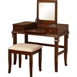 Linon Angela Vanity Set in Walnut (2 Pieces)