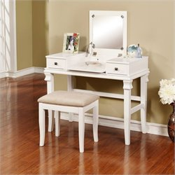 Linon Angela Vanity Set in White (2 Pieces)