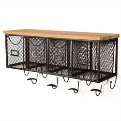 Linon Four Basket Wall Organizer in Black and Brown