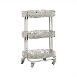 Linon Metal Three Tier Cart in Cream