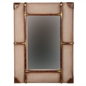 Linon Vintage Framed Wall Small Mirror in Beige and Brown