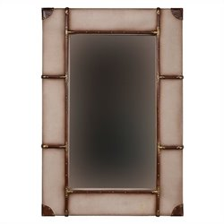 Linon Vintage Framed Wall Large Mirror in Beige and Brown