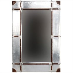 Linon Aluminum Framed Wall Small Mirror in Silver and Brown