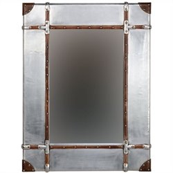 Linon Aluminum Framed Wall Large Mirror in Silver and Brown