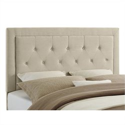 Linon Clayton Full/Queen Tufted Panel Headboard in Natural