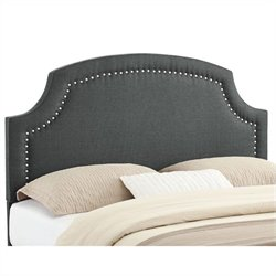 Linon Regency Full Queen Upholstered Headboard in Charcoal