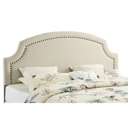 Linon Regency King Upholstered Headboard in Natural