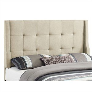 Full/Queen Tufted Wingback Panel Headboard in Natural