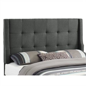 Full/Queen Tufted Wingback Panel Headboard in Gray