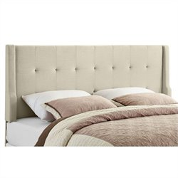 Linon Luxe King Tufted Wingback Panel Headboard in Natural