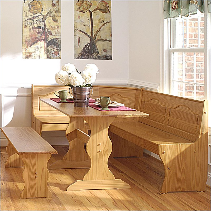 Chelsea Breakfast Corner Nook Table Set in Natural