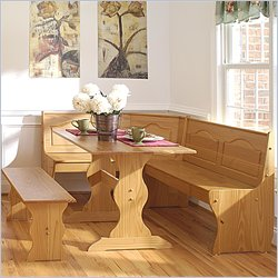 Linon Chelsea Breakfast Corner Nook Table Set in Natural