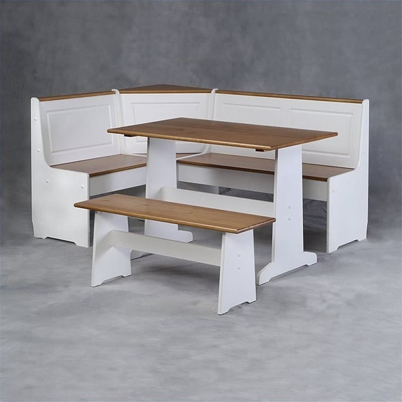 Breakfast kitchen nook solid dining table set wood corner for Corner dining table
